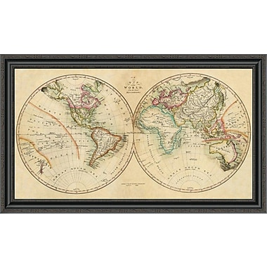 East Urban Home 'Map of the World; 1820' Framed Print; 26'' H x 40'' W x 1.5'' D