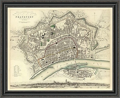 East Urban Home 'Frankfurt; Germany; 1837' Framed Print; 29'' H x 34'' W x 1.5'' D