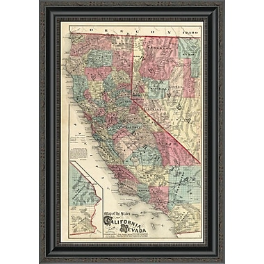 East Urban Home 'Map of the States of California and Nevada; 1877' Framed Print