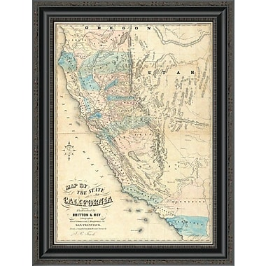 East Urban Home 'Map of the State of California; 1853' Framed Print; 18'' H x 20'' W x 1.5'' D