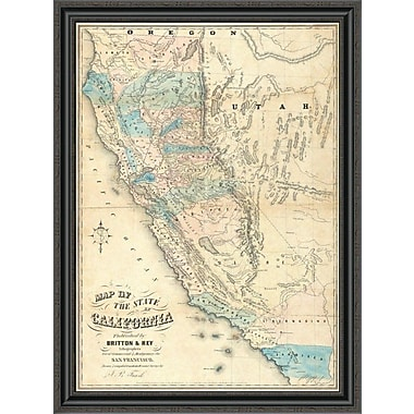 East Urban Home 'Map of the State of California; 1853' Framed Print; 30'' H x 30'' W x 1.5'' D