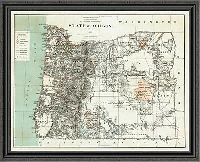 East Urban Home 'State of Oregon; 1879' Framed Print; 34'' H x 40'' W x 1.5'' D