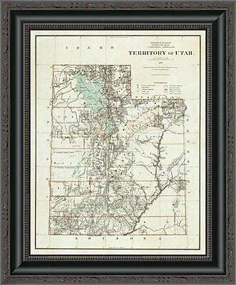 East Urban Home 'Territory of Utah; 1879' Framed Print; 35'' H x 16'' W x 1.5'' D