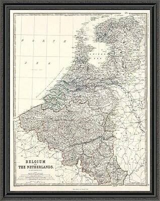 East Urban Home 'Belgium; Netherlands; 1861' Framed Print; 34'' H x 35'' W x 1.5'' D
