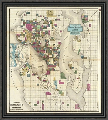 East Urban Home 'City of Seattle and Environs; 1890' Framed Print; 34'' H x 36'' W x 1.5'' D