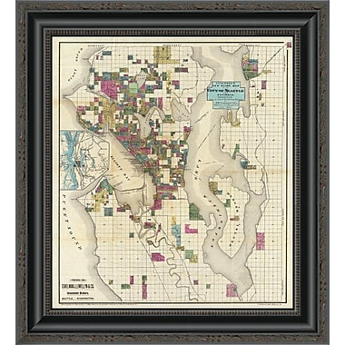 East Urban Home 'City of Seattle and Environs; 1890' Framed Print; 44'' H x 18'' W x 1.5'' D