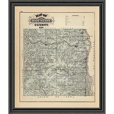 East Urban Home 'Map of Houston County; Minnesota; 1874' Framed Print; 34'' H x 34'' W x 1.5'' D