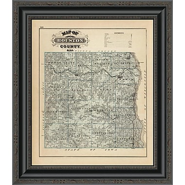 East Urban Home 'Map of Houston County; Minnesota; 1874' Framed Print; 40'' H x 17'' W x 1.5'' D