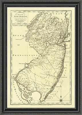 East Urban Home 'State of New Jersey; 1795' Framed Print; 16'' H x 24'' W x 1.5'' D