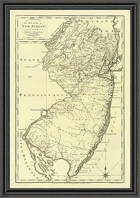 East Urban Home 'State of New Jersey; 1795' Framed Print; 27'' H x 31'' W x 1.5'' D
