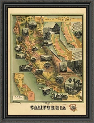East Urban Home 'The Unique Map of California; 1885' Framed Print; 34'' H x 26'' W x 1.5'' D
