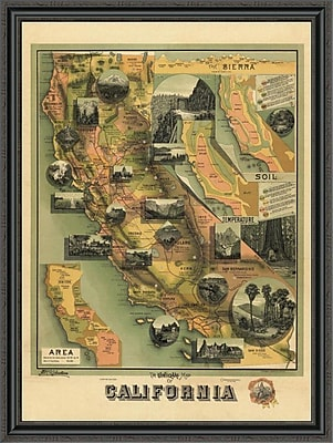 East Urban Home 'The Unique Map of California; 1885' Framed Print; 44'' H x 33'' W x 1.5'' D