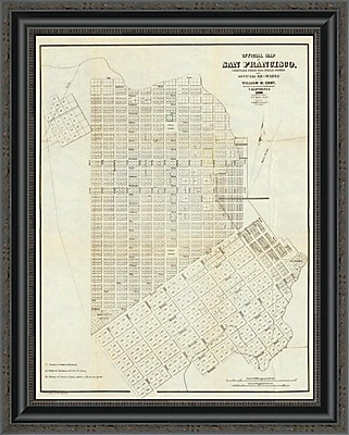 East Urban Home 'Official Map of San Francisco; 1851' Framed Print; 26'' H x 21'' W x 1.5'' D