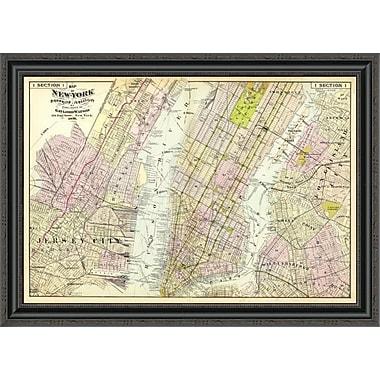 East Urban Home 'New York; Brooklyn; Jersey City; 1891' Framed Print; 21'' H x 34'' W x 1.5'' D