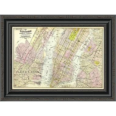 East Urban Home 'New York; Brooklyn; Jersey City; 1891' Framed Print; 26'' H x 20'' W x 1.5'' D