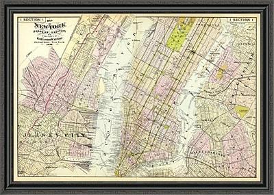 East Urban Home 'New York; Brooklyn; Jersey City; 1891' Framed Print; 33'' H x 44'' W x 1.5'' D