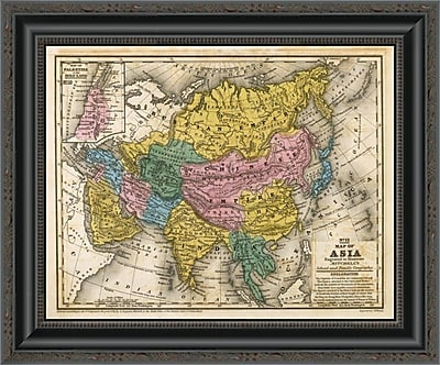 East Urban Home 'Map of Asia; 1839' Framed Print; 17'' H x 20'' W x 1.5'' D