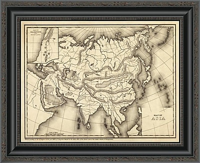East Urban Home 'Map of Asia; 1839' Framed Print; 33'' H x 20'' W x 1.5'' D
