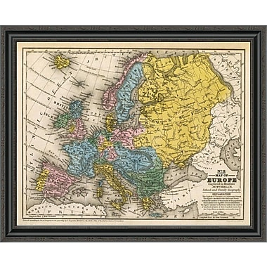 East Urban Home 'Map of Europe; 1839' Framed Print; 21'' H x 34'' W x 1.5'' D
