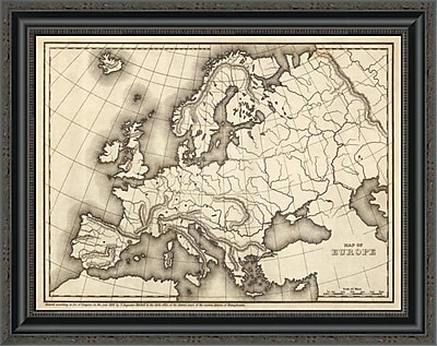 East Urban Home 'Map of Europe; 1839' Framed Print; 16'' H x 26'' W x 1.5'' D