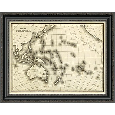 East Urban Home 'Map of Oceanica; 1839' Framed Print; 16'' H x 26'' W x 1.5'' D