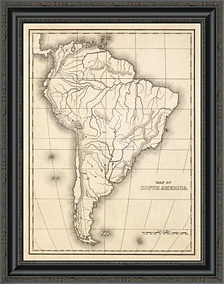 East Urban Home 'Map of South America; 1839' Framed Print; 16'' H x 20'' W x 1.5'' D