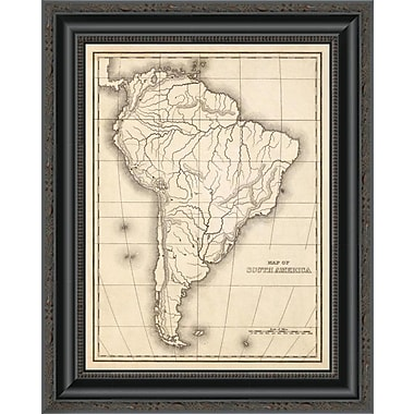 East Urban Home 'Map of South America; 1839' Framed Print; 34'' H x 16'' W x 1.5'' D