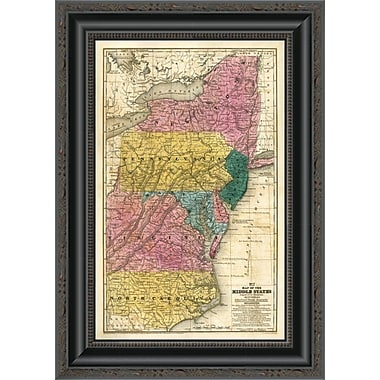East Urban Home 'Map of the Middle States; 1839' Framed Print; 20'' H x 14'' W x 1.5'' D