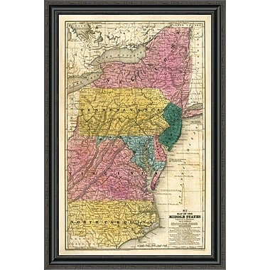 East Urban Home 'Map of the Middle States; 1839' Framed Print; 20'' H x 27'' W x 1.5'' D