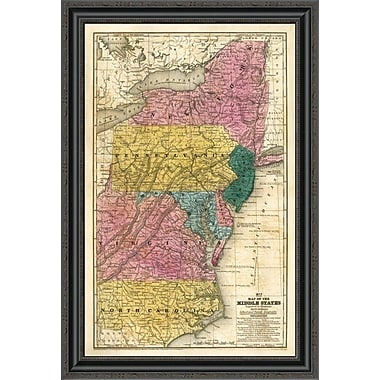 East Urban Home 'Map of the Middle States; 1839' Framed Print; 34'' H x 23'' W x 1.5'' D