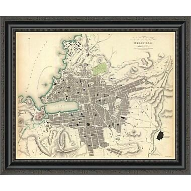 East Urban Home 'Marseille; France; 1840' Framed Print; 14'' H x 26'' W x 1.5'' D