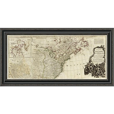 'A New Map of North America; w/ the West India Islands (Northern Section); 1786' Framed Print