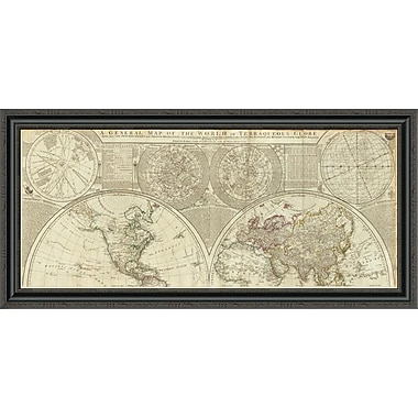 East Urban Home 'A General Map of the World or Terraqueous Globe; 1787' Framed Print