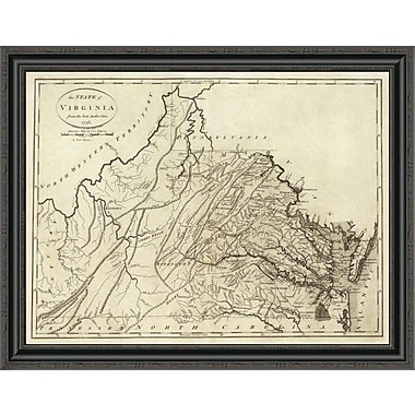 East Urban Home 'State of Virginia; 1796' Framed Print; 20'' H x 34'' W x 1.5'' D
