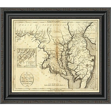 East Urban Home 'States of Maryland and Delaware; 1796' Framed Print; 34'' H x 20'' W x 1.5'' D