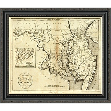 East Urban Home 'States of Maryland and Delaware; 1796' Framed Print; 40'' H x 26'' W x 1.5'' D