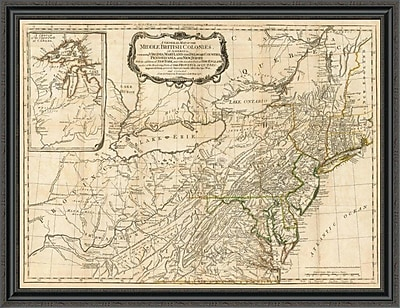 East Urban Home 'A General Map of the Middle British Colonies; in America; 1776' Framed Print
