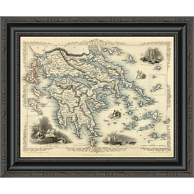East Urban Home 'Greece w/ Inset Maps of Corfu and Stampalia; 1851' Framed Print