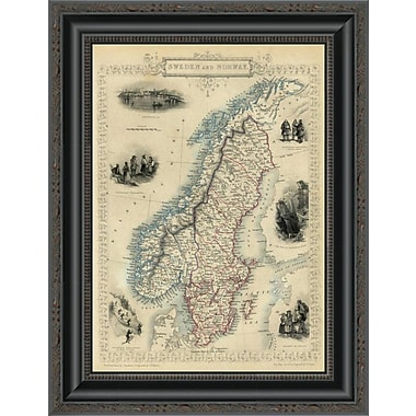 East Urban Home 'Sweden and Norway; 1851' Framed Print; 16'' H x 15'' W x 1.5'' D