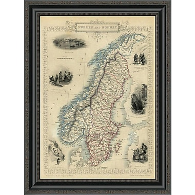 East Urban Home 'Sweden and Norway; 1851' Framed Print; 20'' H x 20'' W x 1.5'' D