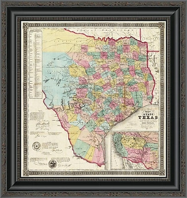 East Urban Home 'The State of Texas; 1856' Framed Print; 17'' H x 19'' W x 1.5'' D