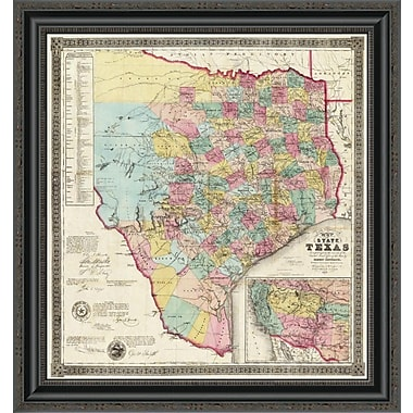 East Urban Home 'The State of Texas; 1856' Framed Print; 22'' H x 24'' W x 1.5'' D