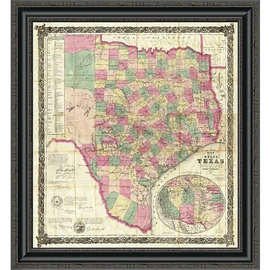 East Urban Home 'The State of Texas; 1867' Framed Print; 16'' H x 24'' W x 1.5'' D