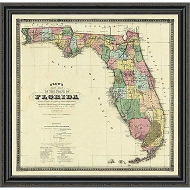 East Urban Home 'New Map of the State of Florida; 1870' Framed Print; 26'' H x 34'' W x 1.5'' D