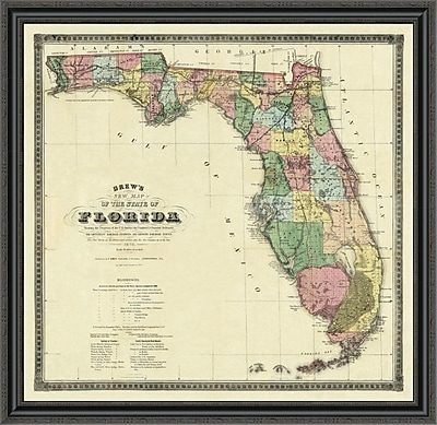 East Urban Home 'New Map of the State of Florida; 1870' Framed Print; 34'' H x 40'' W x 1.5'' D