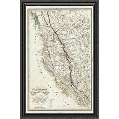 East Urban Home 'Carte De La C ? Te De L'Amerique; 1844' Framed Print; 40'' H x 29'' W x 1.5'' D