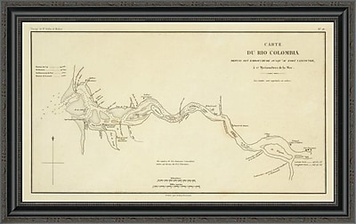 East Urban Home 'Columbia River; Oregon; Washington; 1844' Framed Print; 34'' H x 34'' W x 1.5'' D