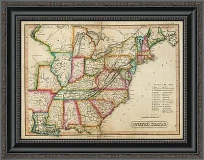 East Urban Home 'United States; 1820' Framed Print; 30'' H x 20'' W x 1.5'' D