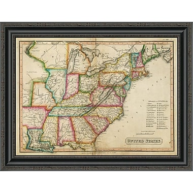 East Urban Home 'United States; 1820' Framed Print; 33'' H x 26'' W x 1.5'' D