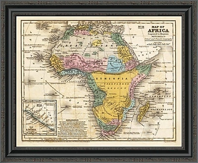 East Urban Home 'Map of Africa; 1839' Framed Print; 22'' H x 26'' W x 1.5'' D